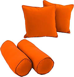 Blazing Needles 9818-S4-CD-TW-TD Double-Corded Solid Twill Throw Pillows with Inserts (Set of 4), Tangerine Dream