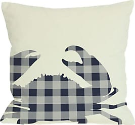 One Bella Casa Plaid Crab Throw Pillow by OBC, 18x 18, Ivory/Navy