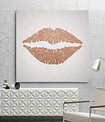 WEXFORD HOME Rose Gold Kiss Gallery Wrapped Canvas Wall Art, 40x40