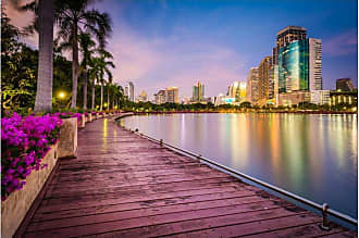 Noir Gallery Bangkok Thailand Lake Rajada Sunset Canvas Wall Art - BKK-03-TW-08