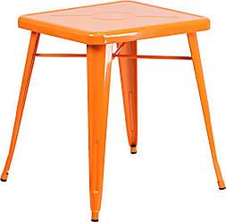 Flash Furniture 23.75 Square Orange Metal Indoor-Outdoor Table