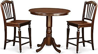 East West Furniture JACH3-MAH-W 3 Piece Pub Table and 2 Counter Height Dining Chair Set
