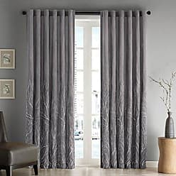 Madison Park Grey Curtains for Living Room, Transitional Rod Pocket Window Curtains for Bedroom, Embroidered Andora Back Tab Fabric Window Curtains, 50X84, 1-Panel Pack
