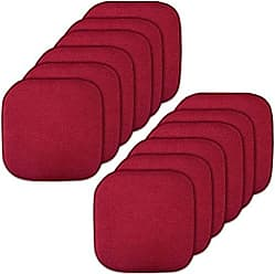 Sweet Home Collection Memory Foam Chair Cushion Honeycomb Pattern Solid Color Slip Non Skid Rubber Back Ultimate Comfort and Softness Rounded Square 16 x 16 Seat Cover, 12 Pack, Red