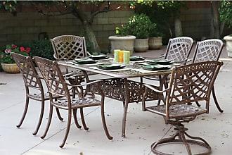 DARLEE Outdoor Darlee Sedona 7 Piece Aluminum 72 in. Rectangular Patio Dining Set - 201030-7PC-60E-AB