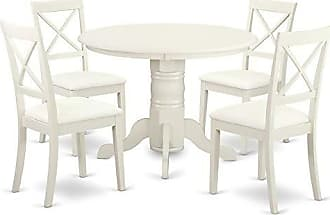 East West Furniture SHBO5-WHI-LC Shelton Set, Linen White