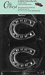 CybrTrayd M074-6BUNDLE Horseshoe Chocolate Candy Mold with Exclusive Copyrighted Chocolate Molding Instructions