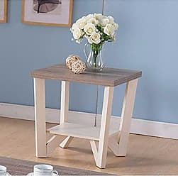 Benzara Well-Designed Display Shelf, White and Brown End Table