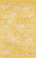 Unique Loom Penrose Collection Traditional Vintage Distressed Yellow Area Rug (3 x 5)