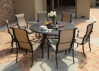DARLEE Outdoor Darlee Monterey Cast Aluminum 9 Piece Patio Dining Set with Lazy Susan - 301110-9PC-99LD28LZ