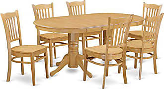 East West Furniture VAGR7-OAK-W 7 Piece Kitchen Dinette Table and 6 Chairs Set