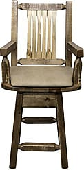 Montana Woodworks MWHCBSWSCASSLBUCK24 Homestead Collection Counter Height Swivel Captains Barstool, Buckskin Upholstery, Stain & Lacquer Finish