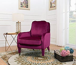 Chic Home Iconic Home Tzivia Accent Club Chair Sleek Elegant Velvet Upholstered Plush Cushion Seat Metal Trim, Modern Transitional, Plum