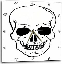 3D Rose dpp_43713_1 Black Skull Outline-Wall Clock, 10 by 10-Inch