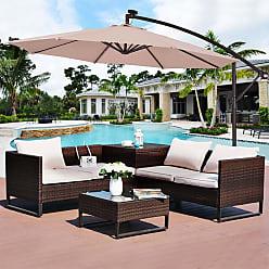 Overstock Costway 10 Hanging Solar LED Umbrella Patio Sun Shade Offset Market W/Base Beige