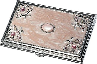 Visol Products Ariella Business Card Holder, Pink Marble/Stainless Steel