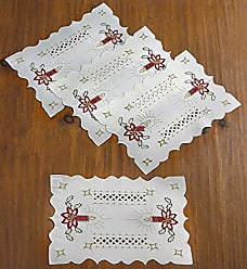Violet Linen Seasonal Christmas Candles Vintage Holiday Embroidered Design Place Mats, 12 x 18, White