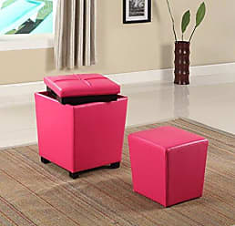 Round Hill Furniture 2-in-1 Storage Ottoman with Stool, Hot Pink