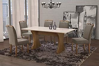 Siena Móveis Conjunto Sala de Jantar em Madeira Maciça Mesa Milão Curva e 6 Cadeiras Priscila Siena Móveis Castanho/Suede 15