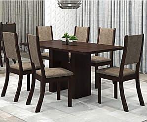 Viero Conjunto Sala de Jantar Mesa Avenida e 6 Cadeiras Kiara Viero Choco/Canela