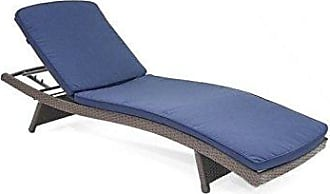 Jeco WL-1_CL1-FS011 Wicker Adjustable Chaise with Blue Cushion Espresso