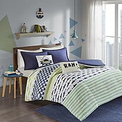 Urban Habitat Finn Twin/Twin Xl Duvet Cover Set Kids Boy - Green, Navy, Shark Stripe - 4 Piece Bed Set Cover - 100% Cotton Kid Boys Bedding Set