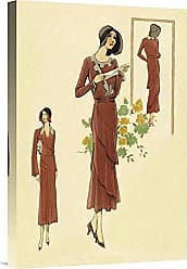 Bentley Global Arts Global Gallery Budget GCS-379258-22-142 Vintage Dainty Fashions in Red Gallery Wrap Giclee on Canvas Wall Art Print