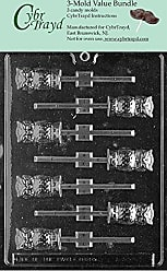 CybrTrayd H034-3BUNDLE Owl Lolly Chocolate Candy Mold with Exclusive Copyrighted Chocolate Molding Instructions