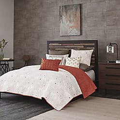 Ink + Ivy Ink+Ivy Kandula Full/Queen Size Quilt Bedding Set - Dark Orange, Quilted Floral, Elephants - 3 Piece Bedding Quilt Coverlets - 100% Cotton Percale Bed Quilts Quilted Coverlet