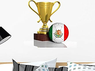 Wallmonkeys Golden Trophy and Ball with Flag of Mexico Wall Decal Peel and Stick Graphic WM302046 (24 in H x 24 in W)