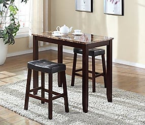 Round Hill Furniture 3-Piece Counter Height Glossy Print Marble Breakfast Table with Stools