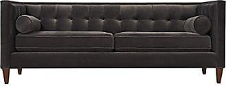 Jennifer Taylor Home Jack Collection Modern Hand Tufted Upholstered Sofa With 2 Bolster Pillows and Hand Finish Legs, Dark Charcoal Gray