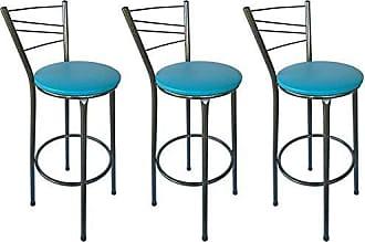 Itagold Kit 3 Banquetas Ravena Tubo Preto Craqueado com Assento Azul - ItaGold