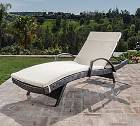 Noble House Christopher Knight Home 296779 Salem Outdoor Wicker Chaise Lounge Chair with Arms with Cushion, Brown/Beige