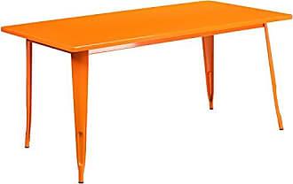Flash Furniture 31.5 x 63 Rectangular Orange Metal Indoor-Outdoor Table