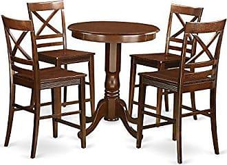 East West Furniture EDQU5-MAH-W 5 Piece Pub Table and 4 Chairs Set