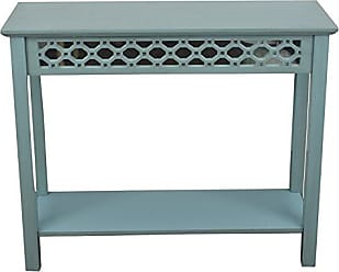 Decor Therapy Mirrored Console Table, Antique Iced Blue