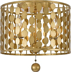 Crystorama Layla 15 3-Light Flush Mount in Antique Gold