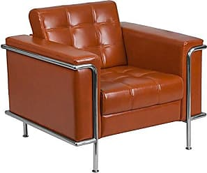 Flash Furniture HERCULES Lesley Series Contemporary Cognac Leather Chair with Encasing Frame