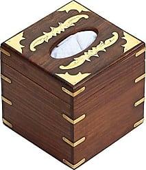 Benzara BM123979 Handmade Wooden Tissue Box with Brass Work, Brown