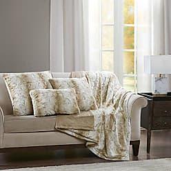 Madison Park Zuri Faux Fur Modern Accent Throw Pillow, Luxury Animal Oblong Decorative Pillow, 14 W X 20 L, Sand