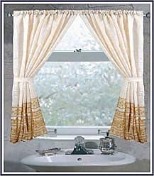Ben&Jonah Ben & Jonah Fleur 100% Polyester Fabric Window Curtain with Two Tie Backs, Size 54X34 Splash Collection by Ben&Jonah, Gold