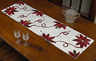 Violet Linen Decorative Christmas Embroidered Poinsettias Design Table Runner, 14 x 34, Ivory