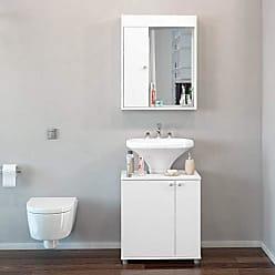 Politorno Conjunto para Banheiro Pequeno com Armário Espelheira e Gabinete Politorno Branco