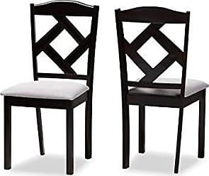 Baxton Studio Set of 2 149-8962-AMZ Dining Chairs, Grey/Espresso Brown, One Size
