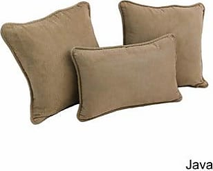 Blazing Needles Double Corded Solid Outdoor Spun Polyester Throw Pillows With Inserts Set Mocha Set Of 3 Patio Furniture Accessories Kolenik Patio Seating