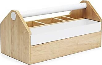 Umbra Toto Storage Box (Long), Perfect for Organizing Makeup, Brushes, Jewelry, Stationary, and More, Birch Wood/White Metal Finish