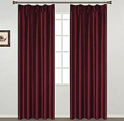 United Curtain Anna Pinch-Pleated Window Curtain Faux Silk Pair of Panel, 76 x 63, Burgundy