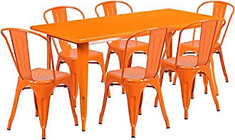 Flash Furniture 31.5 x 63 Rectangular Orange Metal Indoor-Outdoor Table Set with 6 Stack Chairs