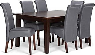 Simpli Home Simpli Home AXCDS7-AVL-G Avalon Contemporary 7 Pc Dining Set with 6 Upholstered Dining Chairs and 66 inch Wide Table